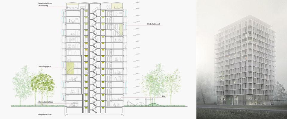1.Preis für Typenhochhaus: Architekten LIN mit WINTER Ingenieure